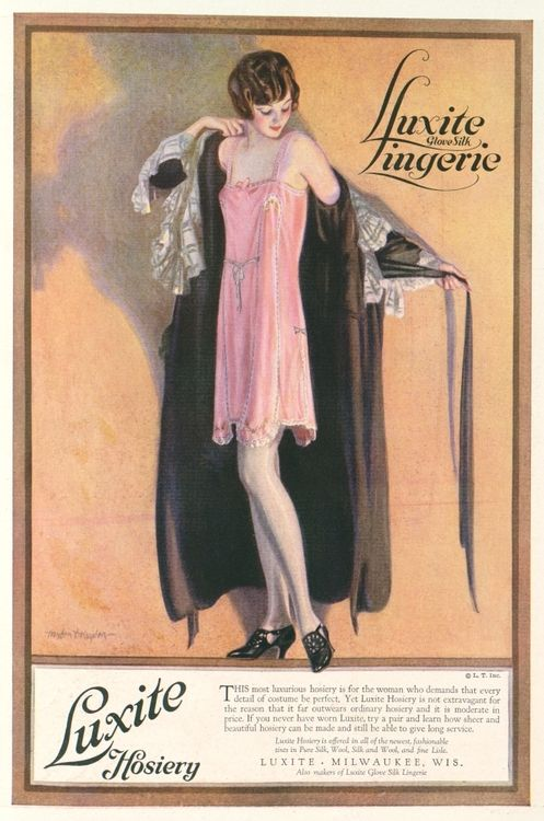 "Luxite Hosery Fashion magazine from Vogue, included product advertisements aimed at the ""new woman."" 1923"