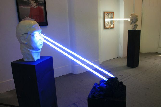 """Tintin Cooper, """"The Manager Strikes Back"""" Plaster Bust, Neon Lights, Plinths, Ash. MA/MFA Degree Show, The Slade, UCL, London. (2011)"""