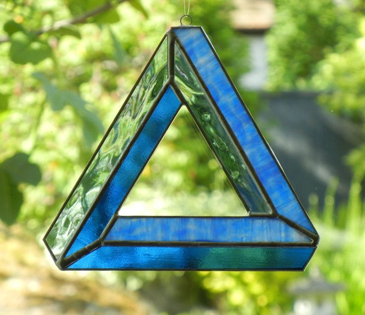 Stained Glass Suncatcher: Optical Illusion, Impossible Triangle, Blue.Glasses Gardens, Glasses Suncatchers, Optical Illusions, Impossible Triangles, Decor Inspiration, Glasses Ideas, Illusions Art Stained Glasses, Impossible Object, 2200