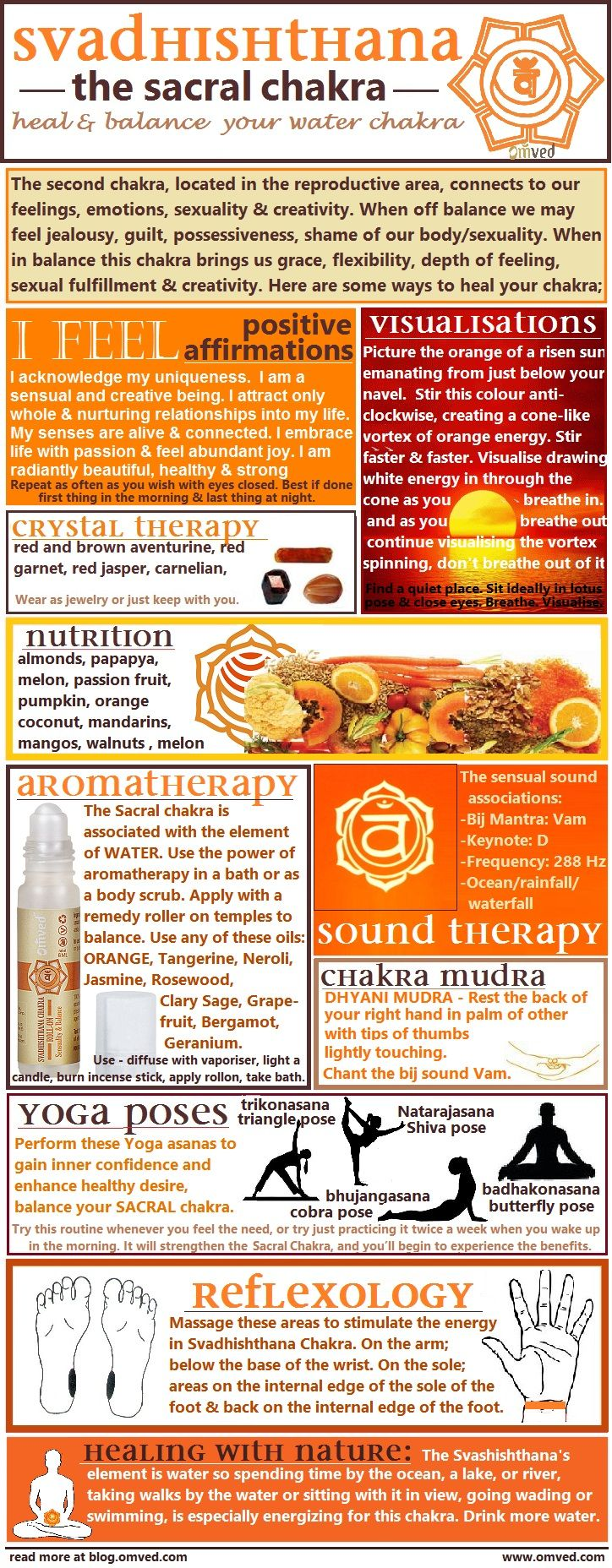 I'm not sure about the crystals...10 ways to Heal & Balance your chakras - There are many ways one can begin to balance their Sacral Chakra. Here are several useful methods, including aromatherapy, visualisations, affirmations, mudra, yoga poses, nutrition, reflexology color, nature and sound therapy!