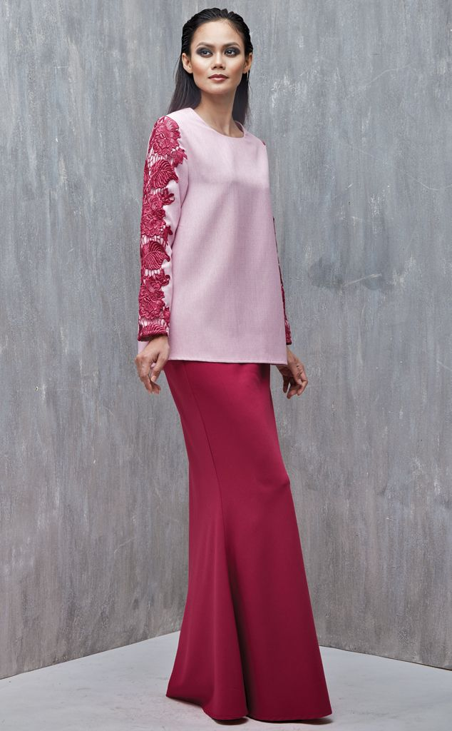EMEL X DAPHNE IKING - LONGHORN - Modern A-line Baju Kurung with Lace (Pink) This A-line modern baju kurung is all about the class and simplicity with border lace on the sleeves. Also, the top is a tweed inspired fabric that's makes a lovely ensemble with the border lace. #emelxCLPTS #emelxDaphneIking #emelbymelindalooi #bajuraya #bajukurung #emel2016 #raya2016 #DaphneIking #lookbook #aline #lace #pink #moden #2016 #baju #kurung #baju #raya