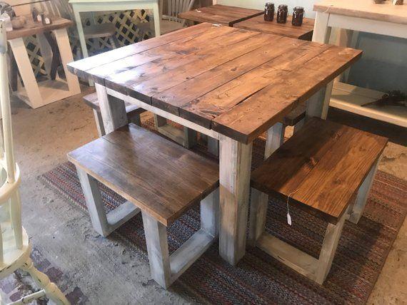 Square Farmhouse Table Rustic Farmhouse Table Dining Set Etsy In 2021 Rustic Farmhouse Table Square Farmhouse Table Square Kitchen Tables