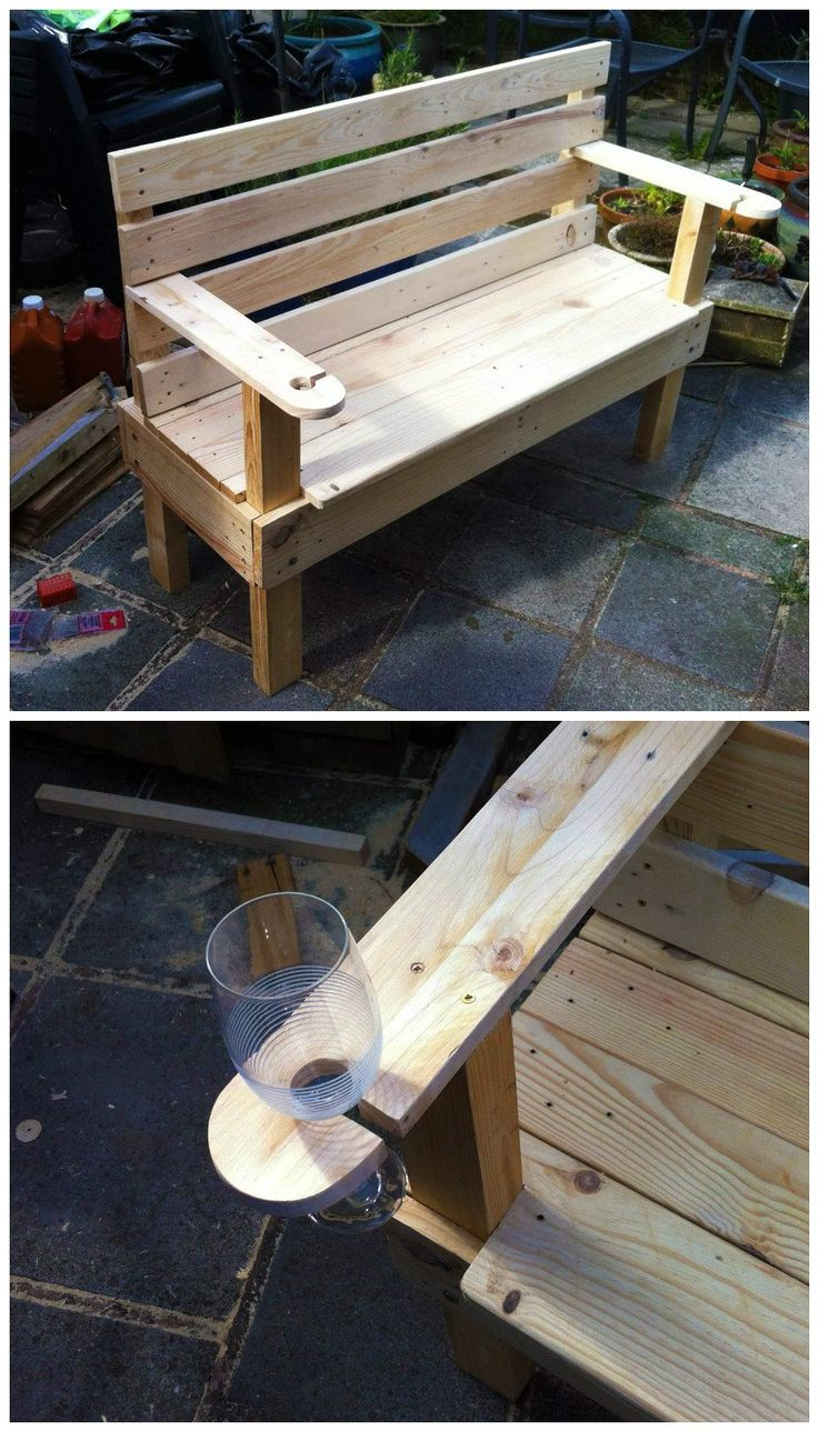 #Bench, #Garden, #HowTo, #RecyclingWoodPallets It took me about 9 hours over a couple of days to make this. Two Euro pallets plus some 3x2 for the legs left over from a previous project. I made the bench the same width as the pallets, so had almost no sewing to do, just the sides and the