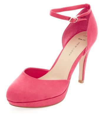 Wide Fit Neon Pink Ankle Strap Heels