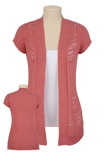 Pointelle Front Short Sleeve Sweater Wrap- Maurices