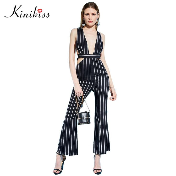Women rompers jumpsuit spring new black striped backless boot cut female sexy straight bodysuits