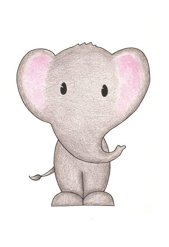 Nursery+Wall+Art++Elephant+Grey+Pink+5x7+by+BrickHouseStudio,+$9.00