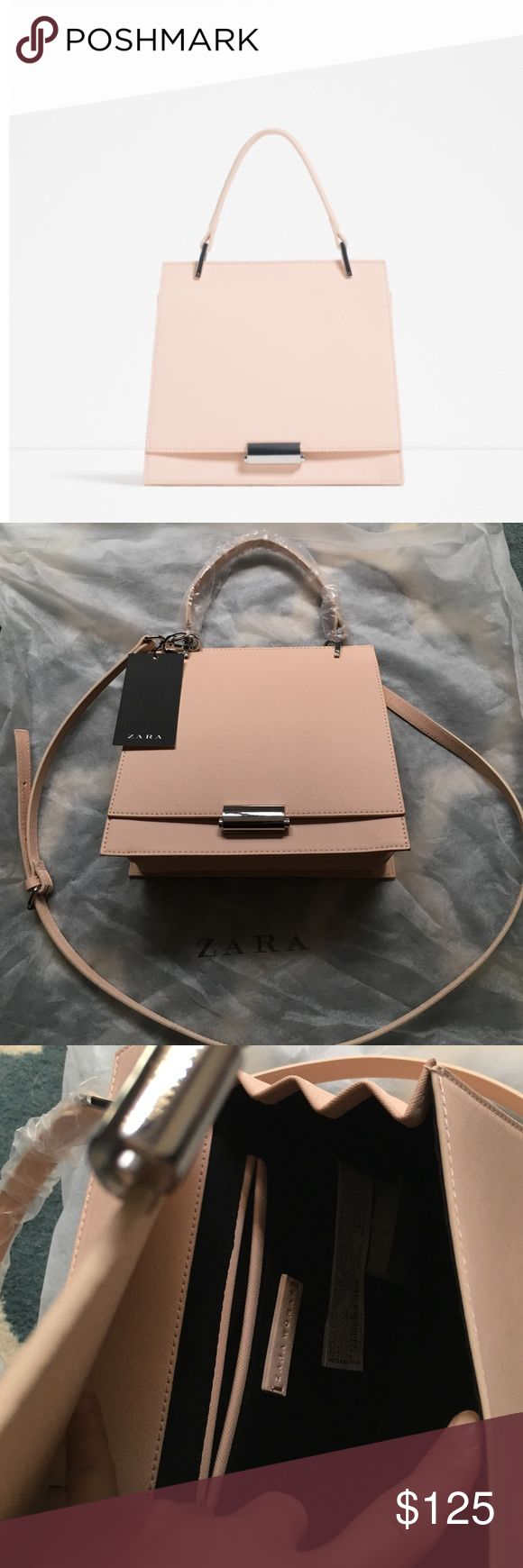 """HP NWT Zara Embossed Blush Mini City Bag Rare blush colored minibag from Zara SS16 collection.  Second pic is actual bag: It is NWT and has been stored in dustbag.  Wrapping still on the handle.  Measures 8.5"""" by 9.5"""" by 4"""".  Faux leather with silver tone hardware, gusseted bottom, adjustable and removable strap. Zara Bags Crossbody Bags"""