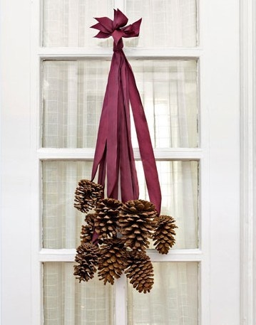 Easy project for the kids.  Gather the pine  cones, glue on the ribbons.