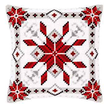 Snow Crystal Christmas Cross Stitch Cushion Kit By Vervaco (one)