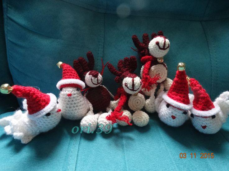reno y palomas navideñas a ganchillo