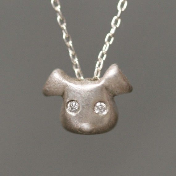 Puppy Necklace in Sterling Silver with by MichelleChangJewelry