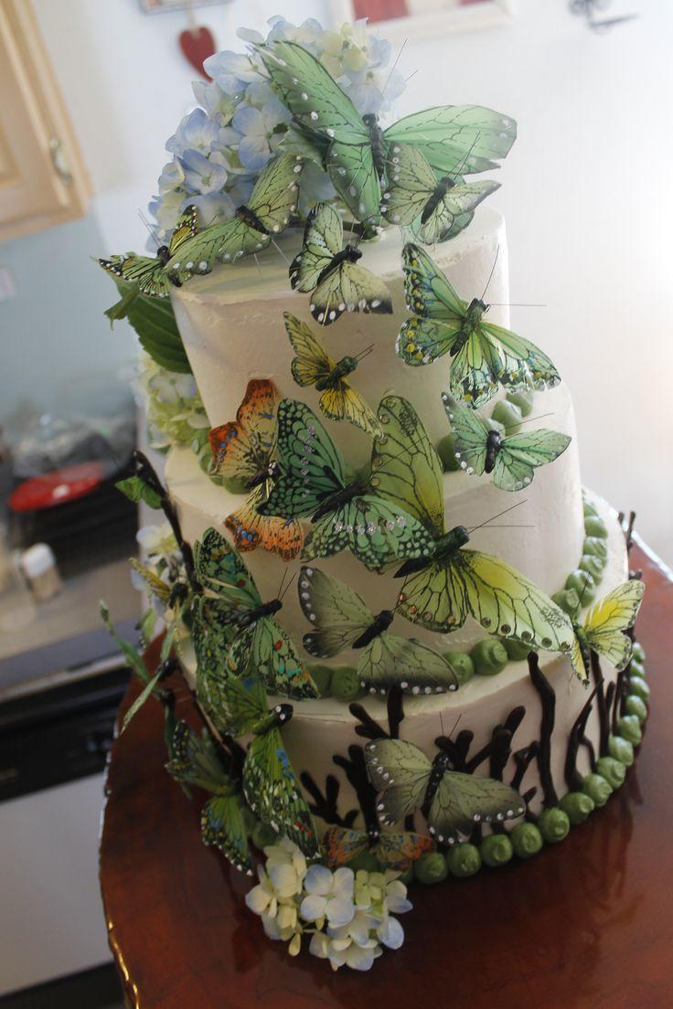 Woodland Butterflies Wedding Cake Cake Ideas