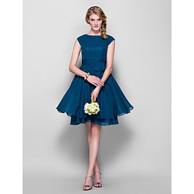 Lanting Knee-length Chiffon Bridesmaid Dress - Ink Blue Plus Sizes / Petite A-line / Princess Jewel - GBP £ 48.99