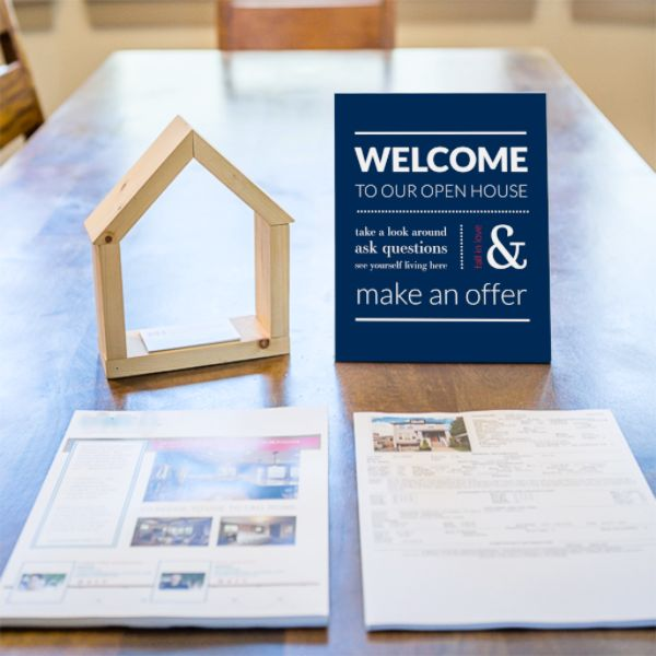 """Break the ice at your next open house with this lighthearted sign that welcomes homebuyers and encourages them to """"Fall in love,"""" with your listing. Pair it with our stylish Open House Registry for a"""