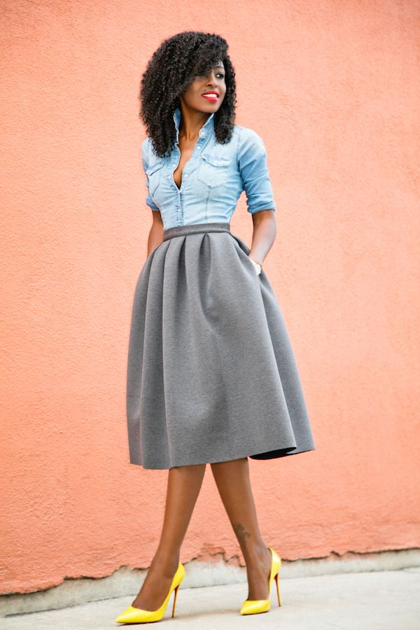 Fitted Denim Shirt + Full Pleated Skirt Style Pantry waysify