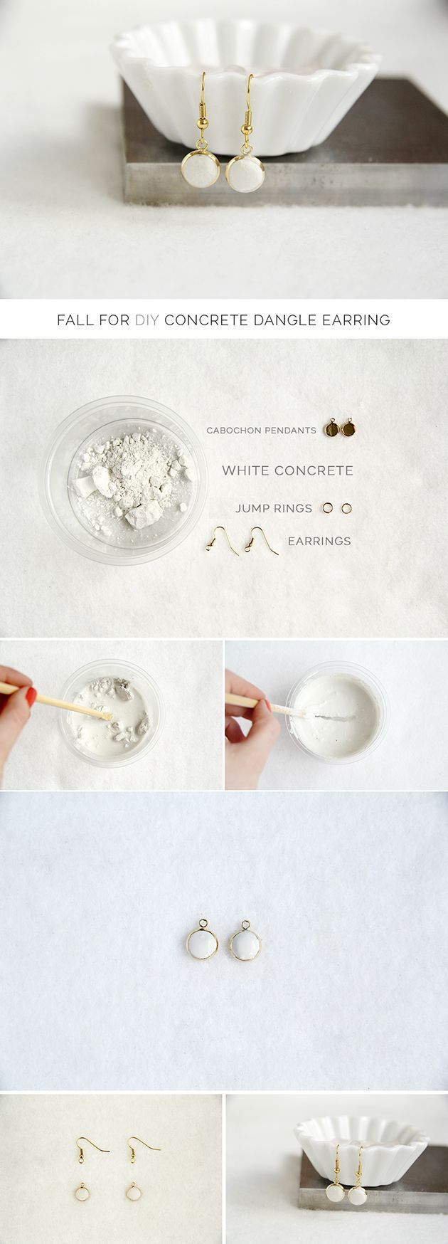 Fall For DIY Concrete Earrings jewellery tutorial #jewelry