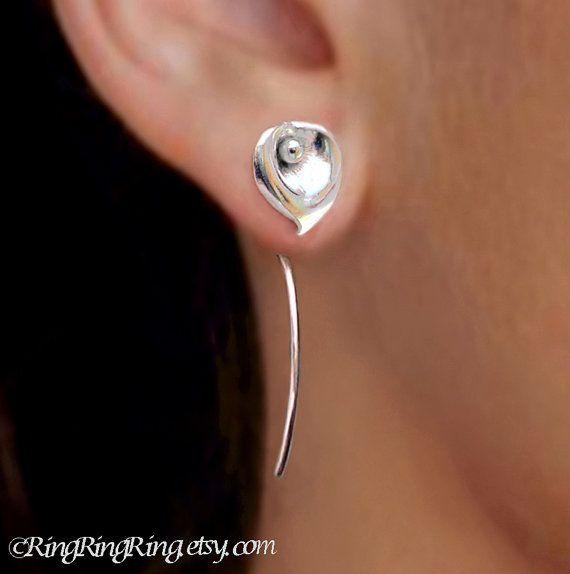cool Calla lily flower earrings sterling silver earrings jewelry dangel earrings cute small stud earrings long stem earrings unique wedding E-098