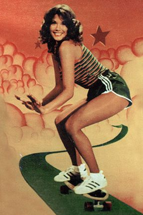 Barbi Benton on a skateboard (c. mid-1970s) ... I'm sure she has panty hose on, too.