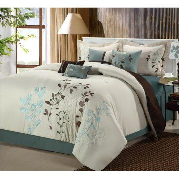Chic Home Bliss Garden Embroidered Comforter Set