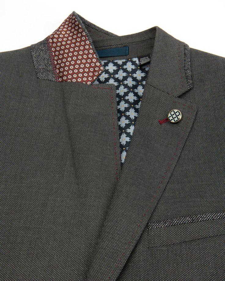 Contrast trim blazer - Gray | Blazers | Ted Baker