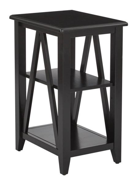 Santa Cruz Contemporary Black Solid Wood Rectangle Small Side Table