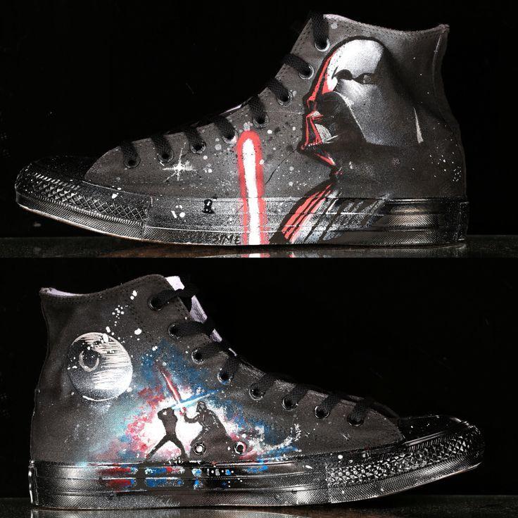 2/2 custom Star Wars chucks painted by @Simplesime #starwars #converse