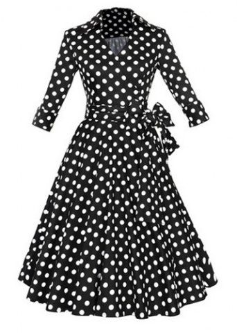 Vintage Flat Collar Polka Dot Waist Lace-Up Dress For Women Vintage Dresses | RoseGal.com Mobile