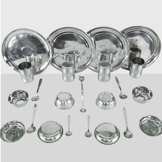 24 pcs Stainless Steel Dinner Set Combo From Teleshop - 24*7 Home Shopping Channel In India.  Order Now @ 09312100300