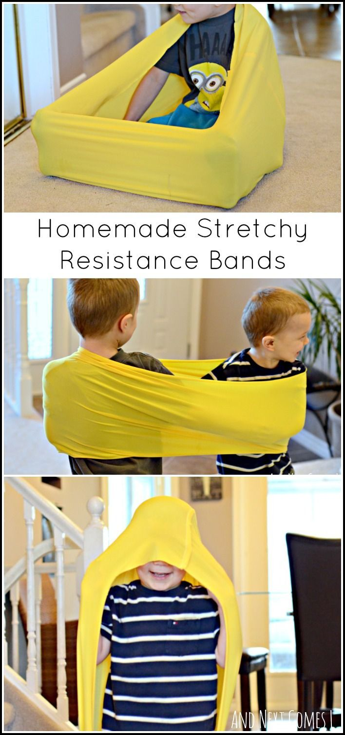 Tutorial for making your own stretchy resistance bands for proprioceptive sensory input for fidgety kids and for kids with sensory processing disorder and/or autism. Includes suggestions on how to use them from And Next Comes L