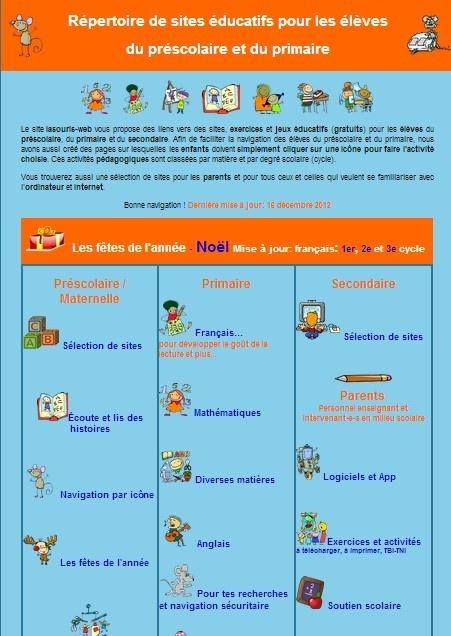 Un répertoire de sites éducatifs pour les enfants du préscolaire et du primaire