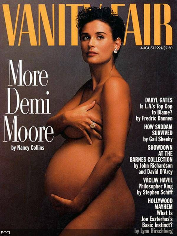 Heavily pregnant actress Demi Moore featured in the magazine Vanity Fair in 1991