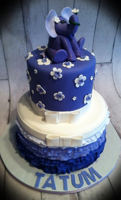 Purple ombre ruffle elephant cake - by Skmaestas ...