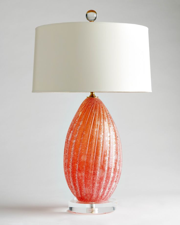 Coral Murano glass lamp c. 1960