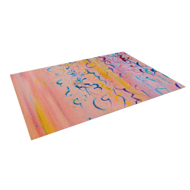 "Ebi Emporium ""Cotton Candy Whispers"" Pink Painting Indoor / Outdoor Floor Mat"