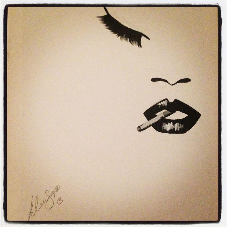 Rihanna, smoking, black and white acrylic