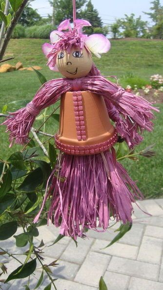 diy raffia clay pot figures, crafts, how to, outdoor living, repurposing upcycling