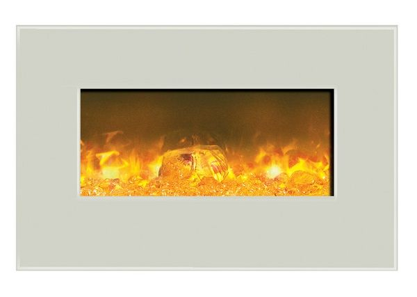 Amantii WM-BI-26-3623-WHTGLS wall-mount electric fireplace with white glass; $949 cdn.