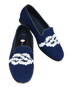 Misses Hand Stitched Sailors Knot Needlepoint Shoes