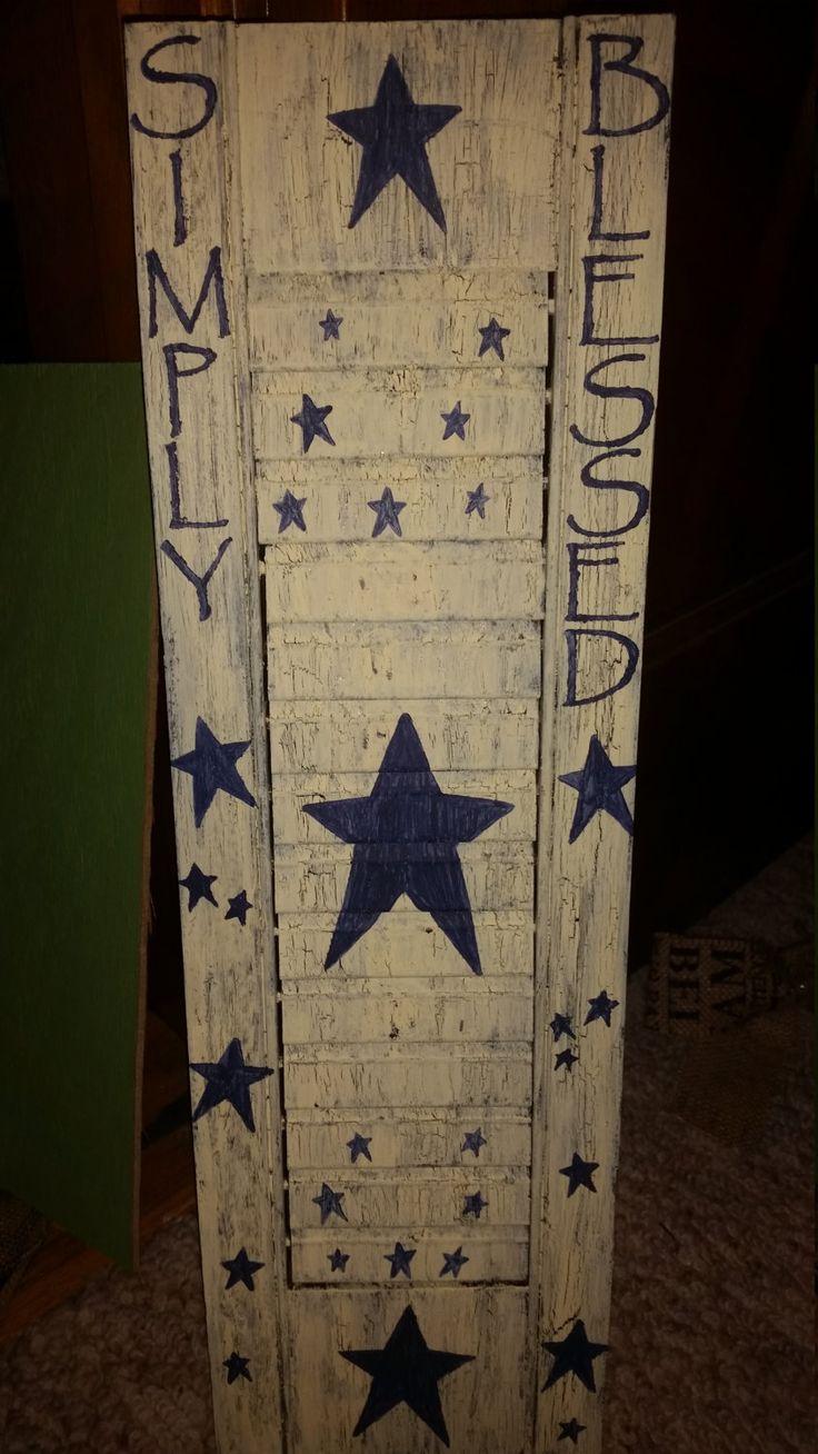 simply blessed shutter, primitive shutter, primitive star decor, wood shutter by PrimitiveCraftsByRhi on Etsy