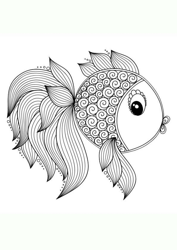 Dibujo Para Colorear Mandala De Un Pez Mandalas Animales