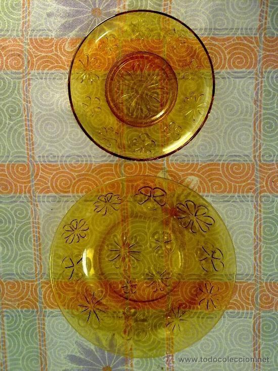 platos color ambar años 60/70 (Vintage - Decoración - Cristal y Vídrio)
