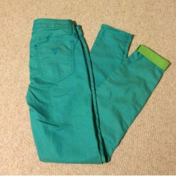 "Guess ""Power Skinny"" Jeans Turquoise jeans with neon green on the underside for a beautiful contrast cuff Guess Jeans Skinny"