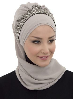 Ready chiffon headscarf - Gray - Ayse Turban Tasarim
