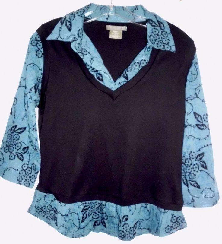 GREAT NORTHWEST Layer-Look Black Floral Teal 3/4 Sleeve Shirt Top Sz S Women EUC #GreatNorthwest #LayerLook #Casual