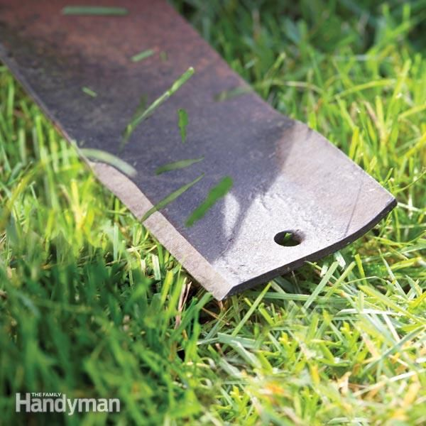 your lawn mower blade is dull. sharpen the blade twice each season to help maintain a green, healthy lawn. a sharp blade not only cuts blades clean so grass plants recover quickly, it helps reduce your lawn mowing time.
