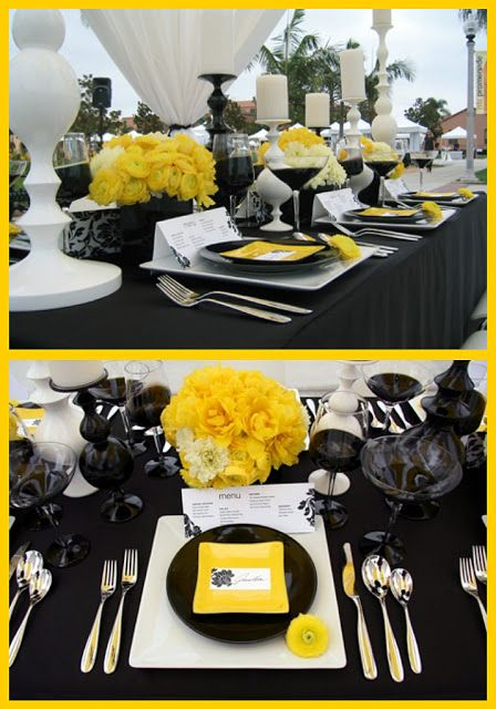 Black, White, and Yellow themed wedding party #yellow #wedding #inspiration