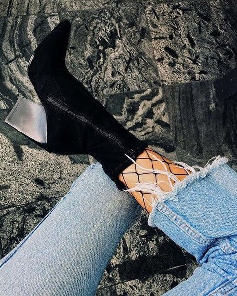 Shoes: tumblr high heels boots boots black boots pointed boots tights fishnet tights net tights