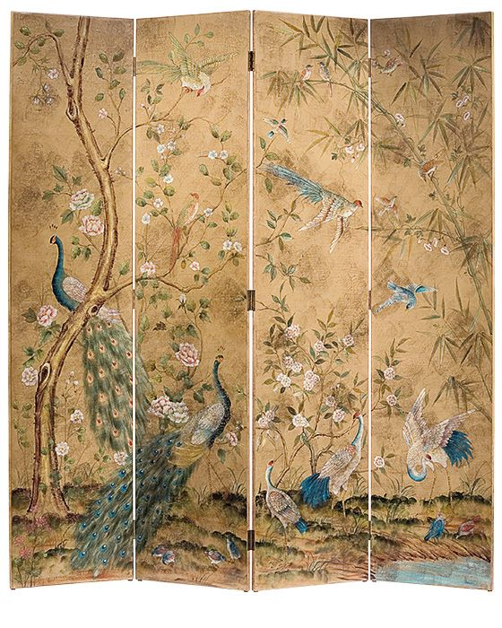 folding screens - hand-painted folding screen with peacocks