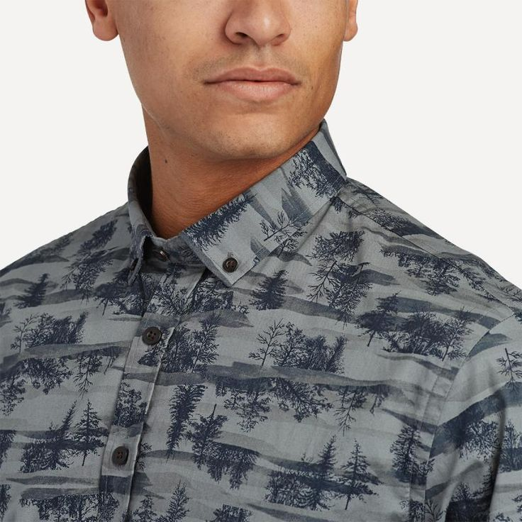 Nature Motif Shirt in Slate | Frank & Oak